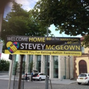 Steveys Welcome Home banner in Armagh